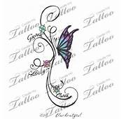 Butterfly With Kids Names Custom Tattoo  Concept 1 22343