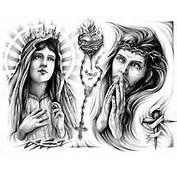 Virgin Mary With Sacred Heart Jesus Tattoo