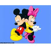 Cartoon Wallpaper Of Mickey Mouse With Minnie On Blue Background