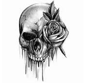 Tatouage Crâne Saignements Avec Rose  Voilà Mon Trouvez