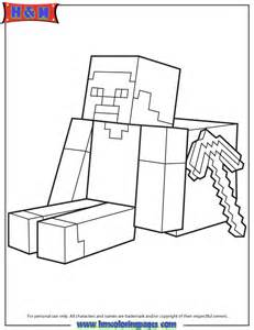 Steve Sitting With Minecraft Weapon Coloring Page | H & M Coloring ...
