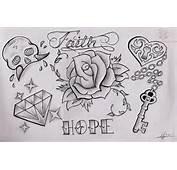 Diamond And Rose Tattoo Design