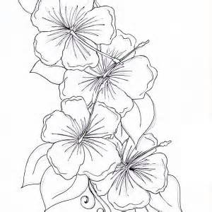 Hawaii State Flower Hibiscus Flower Coloring Page in Full Size