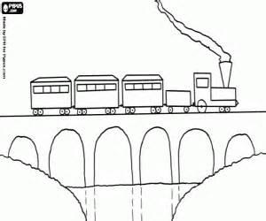 malvorlagen Dampfzug über eine Brücke ausmalbilder