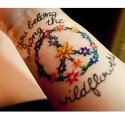 Peace Sign Tattoo Designs Flower