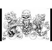 Skull Adn Demon Tattoo Design Img306 Skulls Demons Flash Tatto