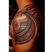 Shoulder Tattoo To Shdoulder Blade With Tattooing Style Samoan Maori