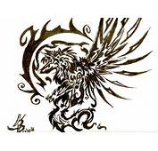 Best Tribal Winged Wolf Tattoo Design