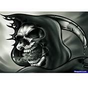How To Draw A Grim Reaper Skull Tattoo Step By Skulls Pop