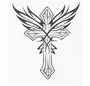 Beautiful Black Tribal And Cross Tattoo Design