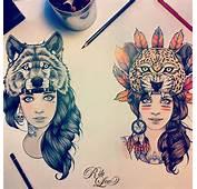 Illustration Art Girls Wolf Tattoo Feathers Leopard Spirit Hood