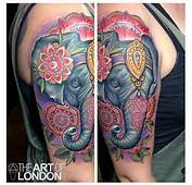 Mandala Flowers And Elephant Head Tattoo On Half Sleeve