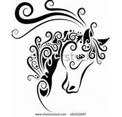 Horse Head Ornament Decoration Animal Sketch With Floral Decorative