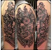 Crazy Half Sleeve Family Crest Tattoo
