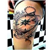 Compass Tattoo Design On Thigh  Tattoobitecom