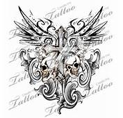 Gothic Cross With Tribal Wings And Skulls Tattoo Design  Religious