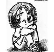 Sad Boy Anime Sketch Very Sweet And Innocent Drawn With Black