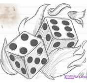 How To Draw Flaming Dice Die Step By Tattoos Pop Culture