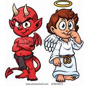 Cartoon Little Angel And Devil Vector Illustration With Simple