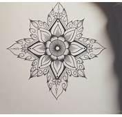 Grey Ink Cool Mandala Flower Tattoo On Arm