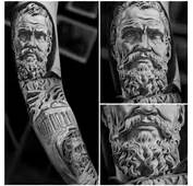 Jun Cha Classical Ancient Greek Tattoo On Left Sleeve
