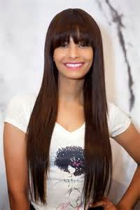 cute hairstyles for long straight hair with bangs