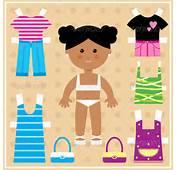 Paper Doll With Clothes Set  Decorative Vectors