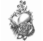 Urban Black &amp White Temporary Tattoo Rose Thorns W/ Heart In