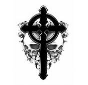 New Black Celtic Cross With Skulls Tattoo Designs Picture