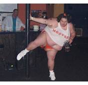 GAGBAY  Fat Girl In Hooters Uniform Pole Dances With Pitcher Of Beer