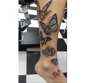 Mariposas 3D Pierna  Tatuajes Para Mujeres