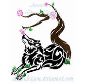 Tribal Wolf And Cherry Blossom By DansuDragon On DeviantArt