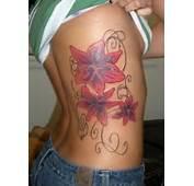 Flowers Design Rib Tattoo For Female