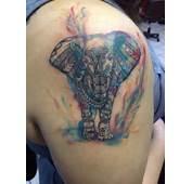 Colorful Tribal Elephant Tattoo Watercolor Via