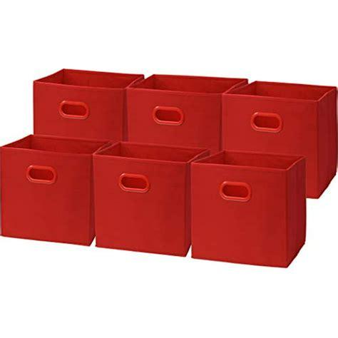 6 Pack - SimpleHouseware Foldable Cube Storage Bin, Red