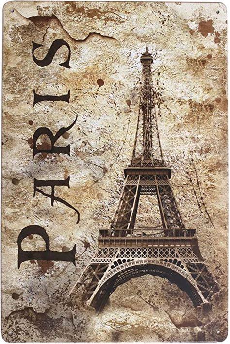 ARTCLUB Vintage Eiffel Tower Paris Metal Tin Sign Wall