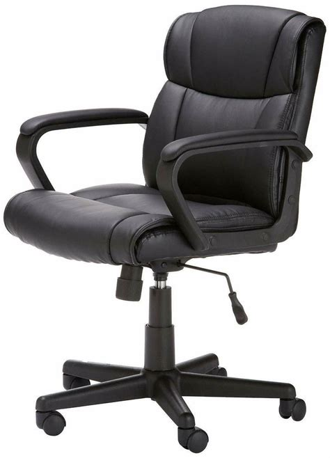 AmazonBasics Classic Leather-Padded Mid-Back Office Computer Desk Chair with