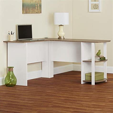 Ameriwood Home Dakota L-Shaped Desk with Bookshelves, White/ Sonoma
