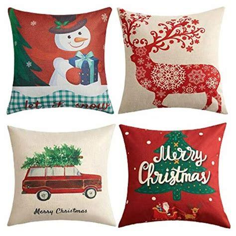 Anickal Christmas Holiday Decorations Christmas Cotton Linen Pillow Covers 18