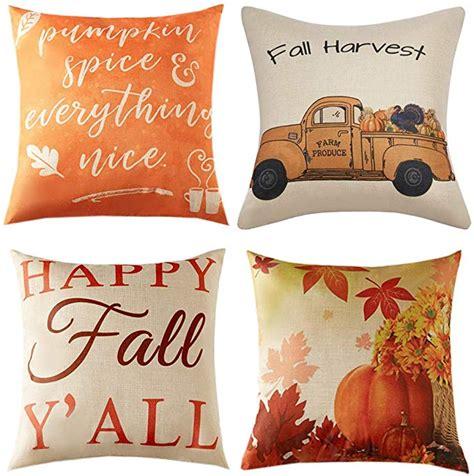 Anickal Set of 4 Fall Pillow Covers Autumn Thanksgiving Theme