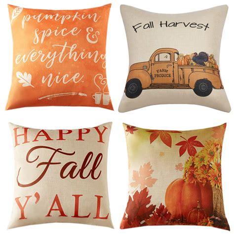 Anickal Set of 4 Fall Pillow Covers Autumn Theme Farmhouse
