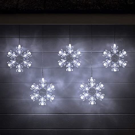 Battery Operated Cool White LED Acrylic Snowflake Hanging Christmas