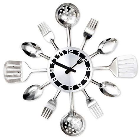 Bits and Pieces - Contemporary Kitchen Utensil Clock-Silver-Toned Forks,