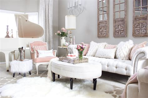 Blush Pink and White Living Room living room design & decor ideas gallery