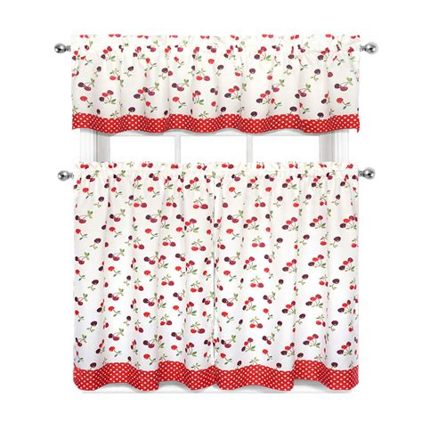 Cherries & Polka Dots Complete 3 Pc. Kitchen Curtain Tier & Valance