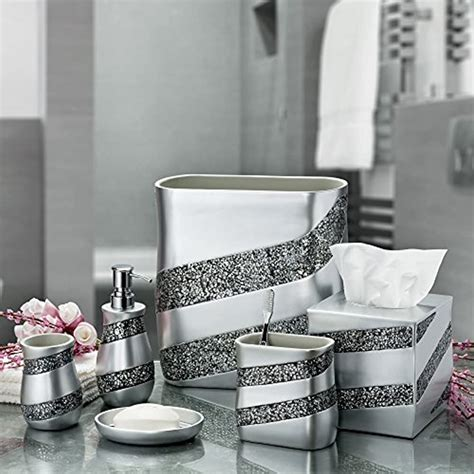 "DWELLZA Silver Mosaic Bathroom Trash Can (11"" x 5.5"" x 11"") Decorative"