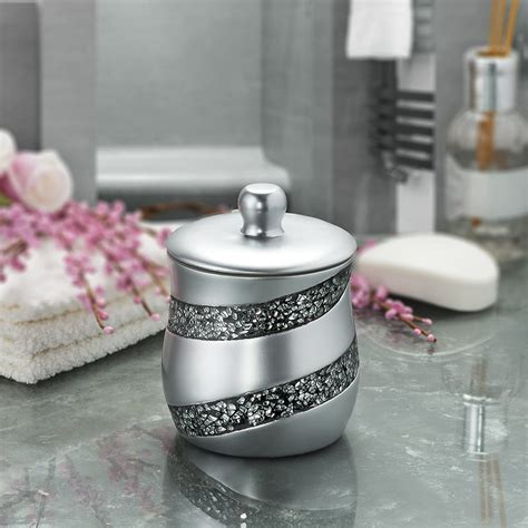 "DWELLZA Silver Mosaic Q Tip Holder (3.8 x 3.8 4.9"") - Decorative"