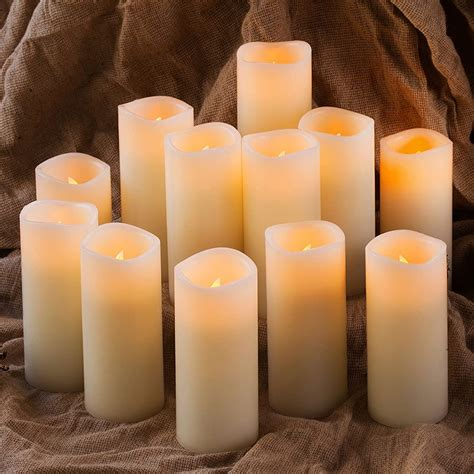 Enpornk Set of 12 Flameless Candles Battery Operated LED Pillar