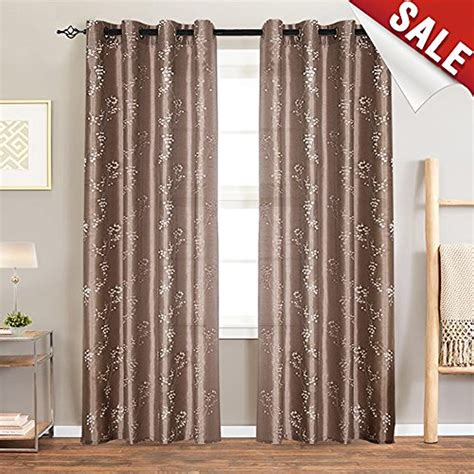 Faux Silk Floral Embroidered Grommet Top Curtains for Bedroom 84