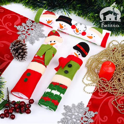 Felitsa Snowman Christmas Decorations - Set of 3 Kitchen Handle